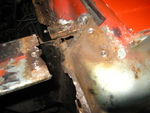 Driver's side fender apron extension removed