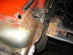 Passenger's side fender apron extension removed
